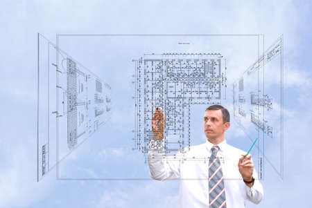 serious engineer-designing resolve compound architectural problem Stock Photo - 7607491