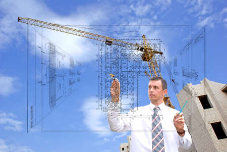 construction draftsman: serious engineer-designing resolve compound architectural problem
