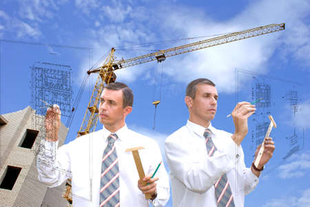 construction draftsman: collective  engineer-designing resolve compound architectural problem Stock Photo