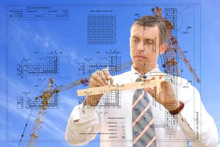 draftsman: serious engineer-designing resolve compound architectural problem