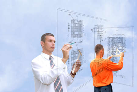preparatory: projection -initial preparatory stage in construction new building Stock Photo