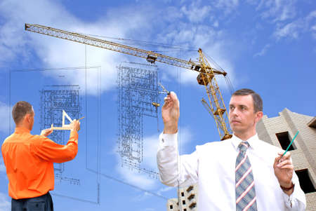 draftsman: projection -initial preparatory stage in construction new building Stock Photo