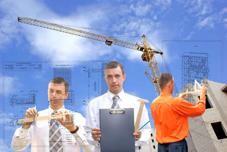engineering plans: projection -initial preparatory stage in construction new building Stock Photo