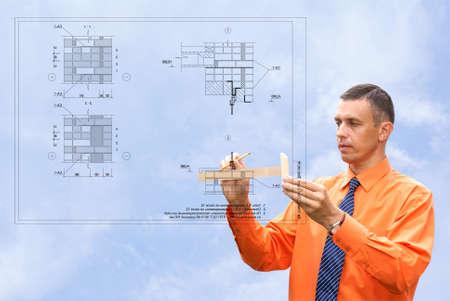 projection-première étape préparatoire dans le nouveau bâtiment de construction  Banque d'images - 7639256