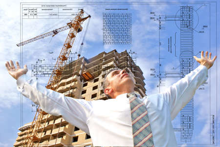 architectural survey: projection -initial preparatory stage in construction new building Stock Photo