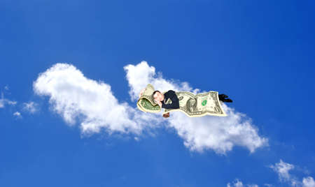 sleeping upon heaven cloud businessman dreams of finance gain  Stock Photo