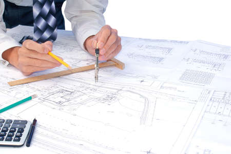 construction draftsman: projection -initial preparatory stage in construction new building Stock Photo