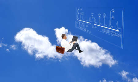 cloud industry: generation professional engineer designer new internet technology Stock Photo