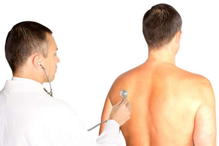 transact: serious attentive therapeutist transact planned  medical inspection Stock Photo