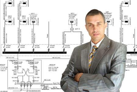 generate: professional engineer designer admiring size generate electric fundamental scheme Stock Photo