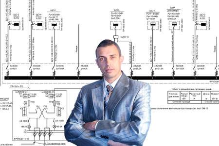 rapturous: professional engineer designer admiring size generate electric fundamental scheme Stock Photo