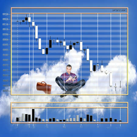tabulation: businessman calculate finance liability and dreams of gross fortune