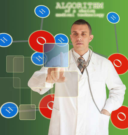 defines: The doctor defines algorithm of a choice of medical technology Stock Photo
