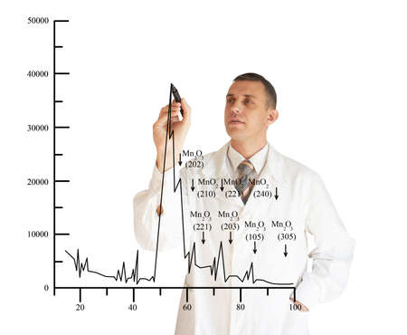 The scientific employee draws the diagramme of clearing of potable water Stock Photo - 8277914