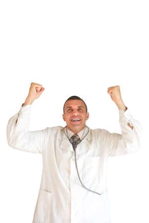 successes: Il medico gioisce per i successi nel lavoro professionale Archivio Fotografico