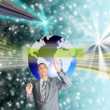 digitally generated image: The highest the technology Internet allow to solve global problems