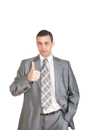 Portrait of the modern businessman on a white background photo