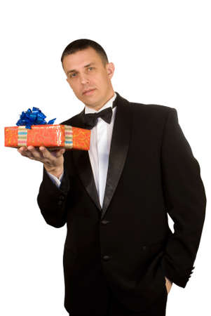 The man likes to give gifts for a holiday photo