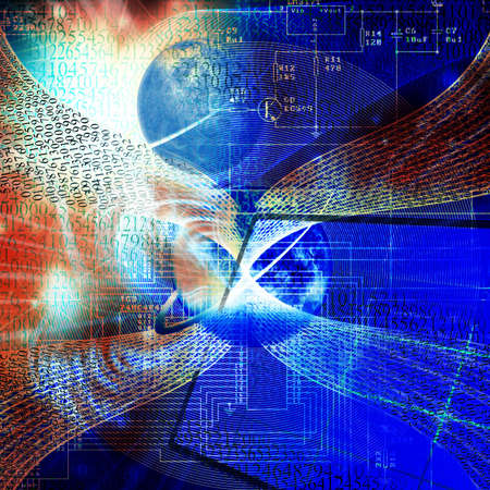 mankind: nanotechnology allow to transform a solar energy for needs of mankind Stock Photo