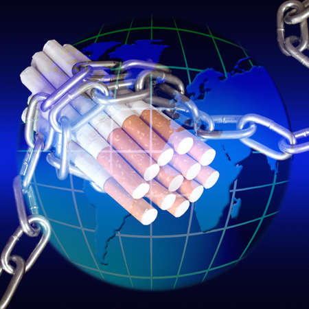 nicotinic: Struggle against nicotinic dependence all over the world Stock Photo