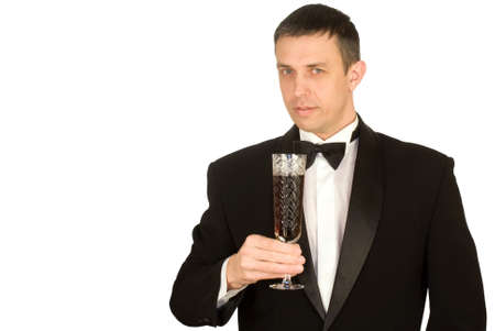 The elegant man prefers red sweet grape wine photo