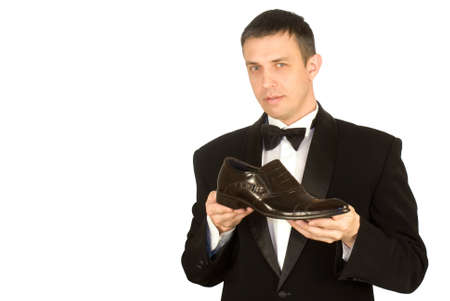 The elegant man always chooses the best model of footwear photo