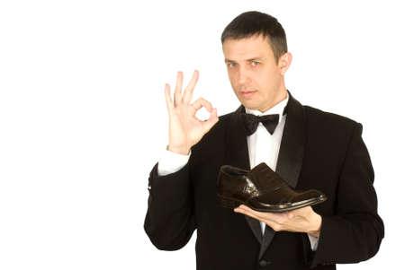 smocking: The elegant man always chooses the best model of footwear Stock Photo
