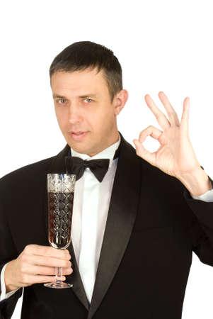 smocking: The elegant man prefers red sweet grape wine