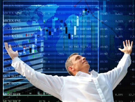 buying stock: Good luck at the financial auctions causes in the businessman of emotion of happiness Stock Photo