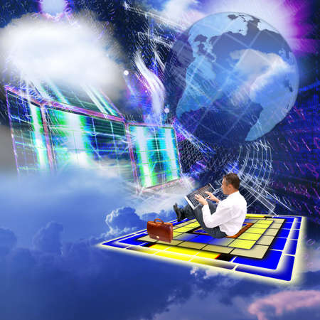 free space: Development of the newest telecommunication and the Internet of technologies in free space Stock Photo