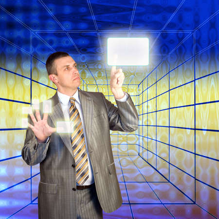 mankind: The mankind chooses the newest information technologies and the Internet Stock Photo
