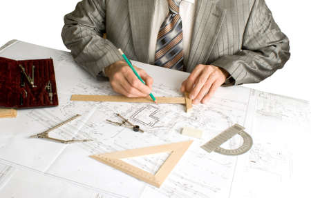 the of engeneer-designer is carried out by construction plans  Stock Photo - 9166101
