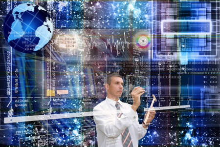 engeneer: The newest Internet technologies in the field of space research Stock Photo