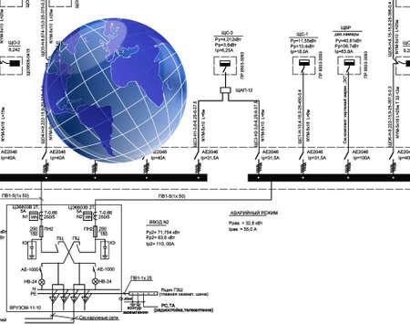 designing: Designing of the newest global telecommunication technologies Stock Photo