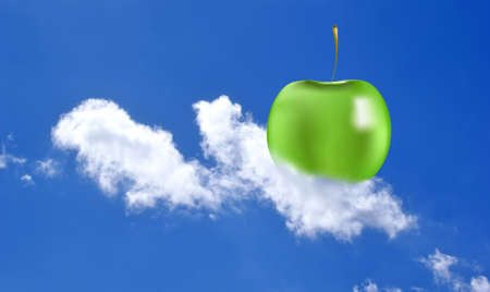 snowwhite: Green apple on a snow-white cloud