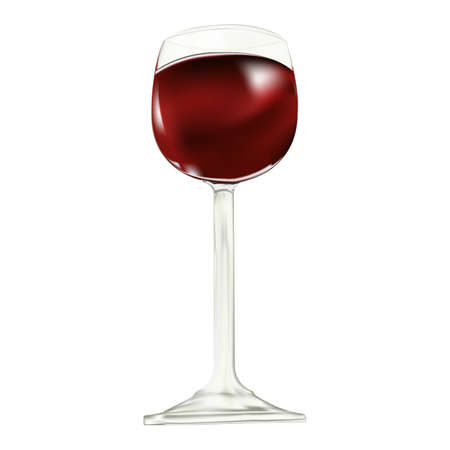 fortified: Red dry house wine sparkles in a glass wine glass Stock Photo