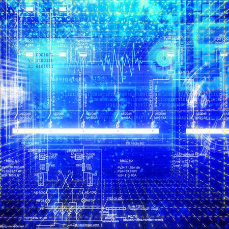 newest: Designing of the newest global telecommunication technologies Stock Photo
