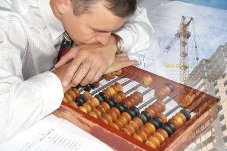 engineer- planner pensive resolve global  problem photo