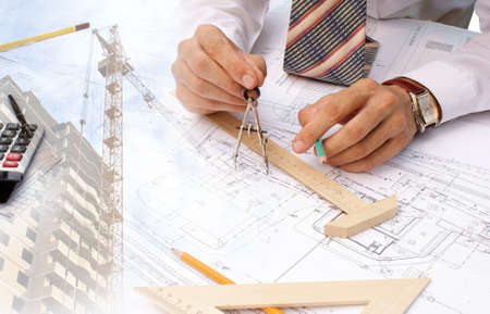 expertise: projection -initial preparatory stage in construction new building Stock Photo