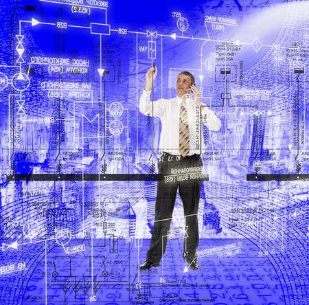 ingenieria industrial: Dise�o de ingenier�a de sistemas de automatizaci�n de los equipos el�ctricos de potencia industrial Foto de archivo