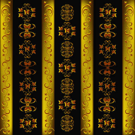 gold leafs: Decorative seamless wallpaper with a golden abstract ornament