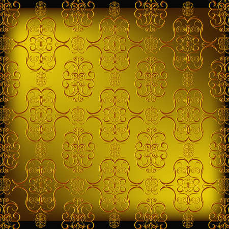 tileable background: Decorative seamless wallpaper with a golden abstract east ornament Illustration