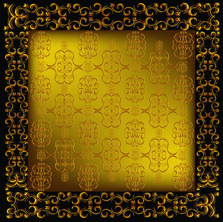 gold leafs: Decorative seamless wallpaper with a golden abstract east ornament Illustration