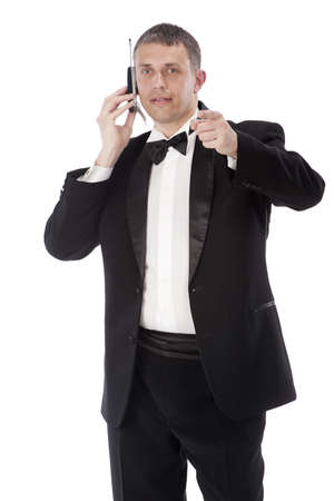 imposing: The celebratory imposing man talking telephone