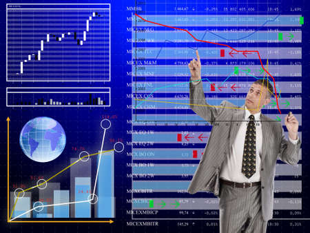 tabulation: exchange prices  in currency tender upon  monetary market changeable Stock Photo