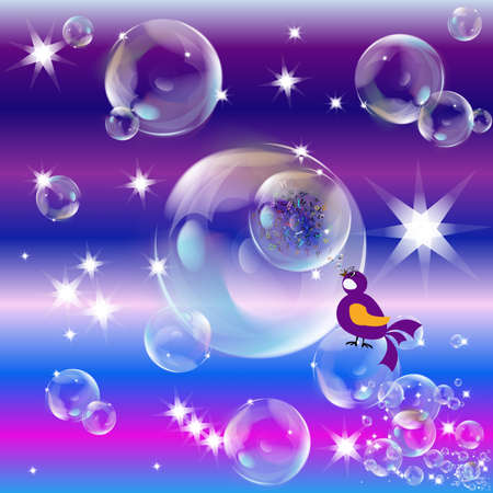 Soap bubbles on an abstract background Vector
