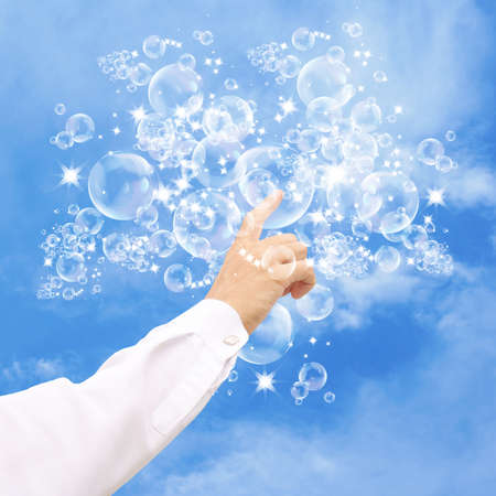 Easy happy life as flying soap bubbles photo