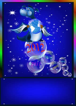 Dark blue dragon a symbol of new 2012 on east calendar Vector