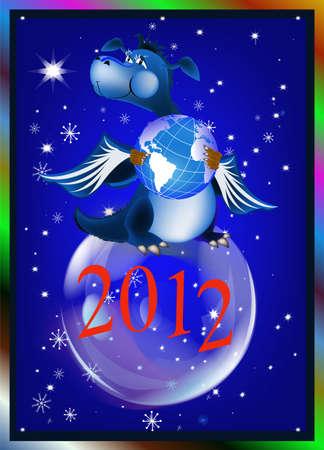 Dark blue dragon-New Year photo