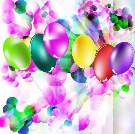 Abstract celebratory illustration with balloons for placing of your text illustration